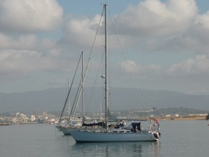 Yachts at anchor in Portimao harbour